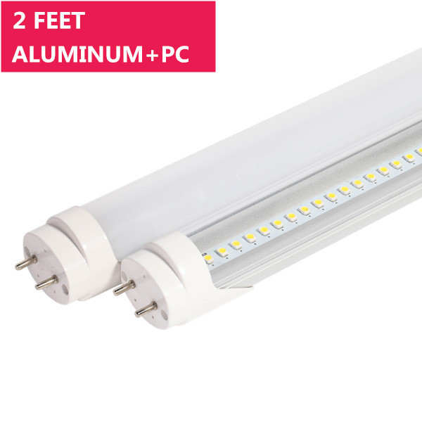 2FT Line Voltage AC Bi-Pin G13 Base Non-Dimmable Ballast By-Pass T8 LED Tube Light in Aluminum+PC Housing