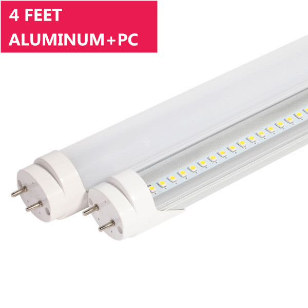 4FT Line Voltage AC Bi-Pin G13 Base Non-Dimmable Ballast By-Pass T8 LED Tube Light in Aluminum+PC Housing
