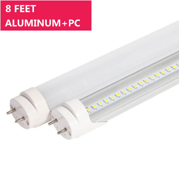 8FT Line Voltage AC Non-Dimmable Ballast By-Pass T8 LED Tube Light in Aluminum+PC Housing