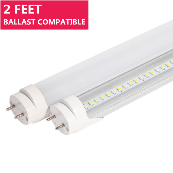 Ballast Compatible 2FT Line Voltage AC Bi-Pin G13 Base Non-Dimmable T8 LED Tube Light in Aluminum+PC Housing