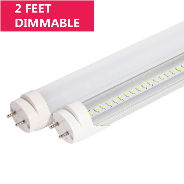 Dimmable 2FT Line Voltage AC Bi-Pin G13 Base Ballast By-Pass T8 LED Tube Light in Aluminum+PC Housing