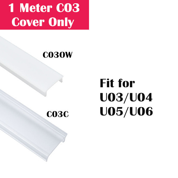 1Meter (3.3ft) Cover Only for LED Aluminum Channel U03/U04/U05/U06