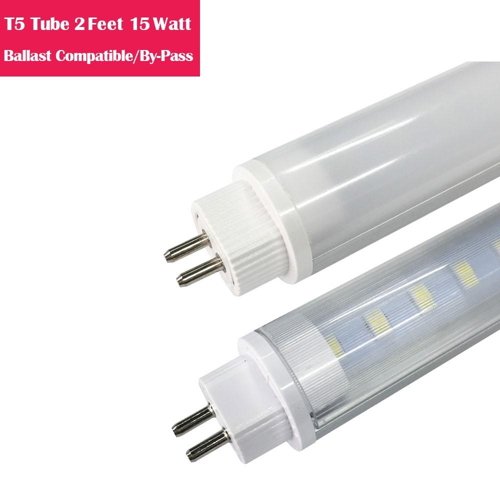 2 Feet Line Voltage AC 160° G5Bi-Pin T5 LED Tube Aluminum + PC housing