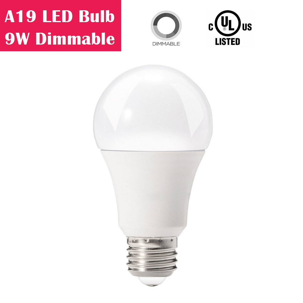 A19 Dimmable 9W LED Light Bulb 60W Equivalent CRI 80