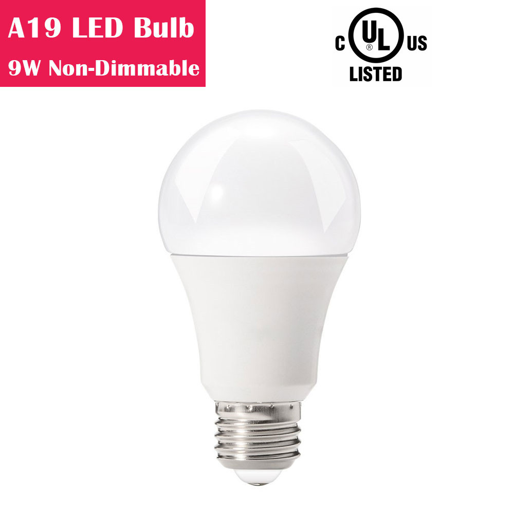 A19 Non-Dimmable 9W LED Light Bulb 60W Equivalent CRI 80