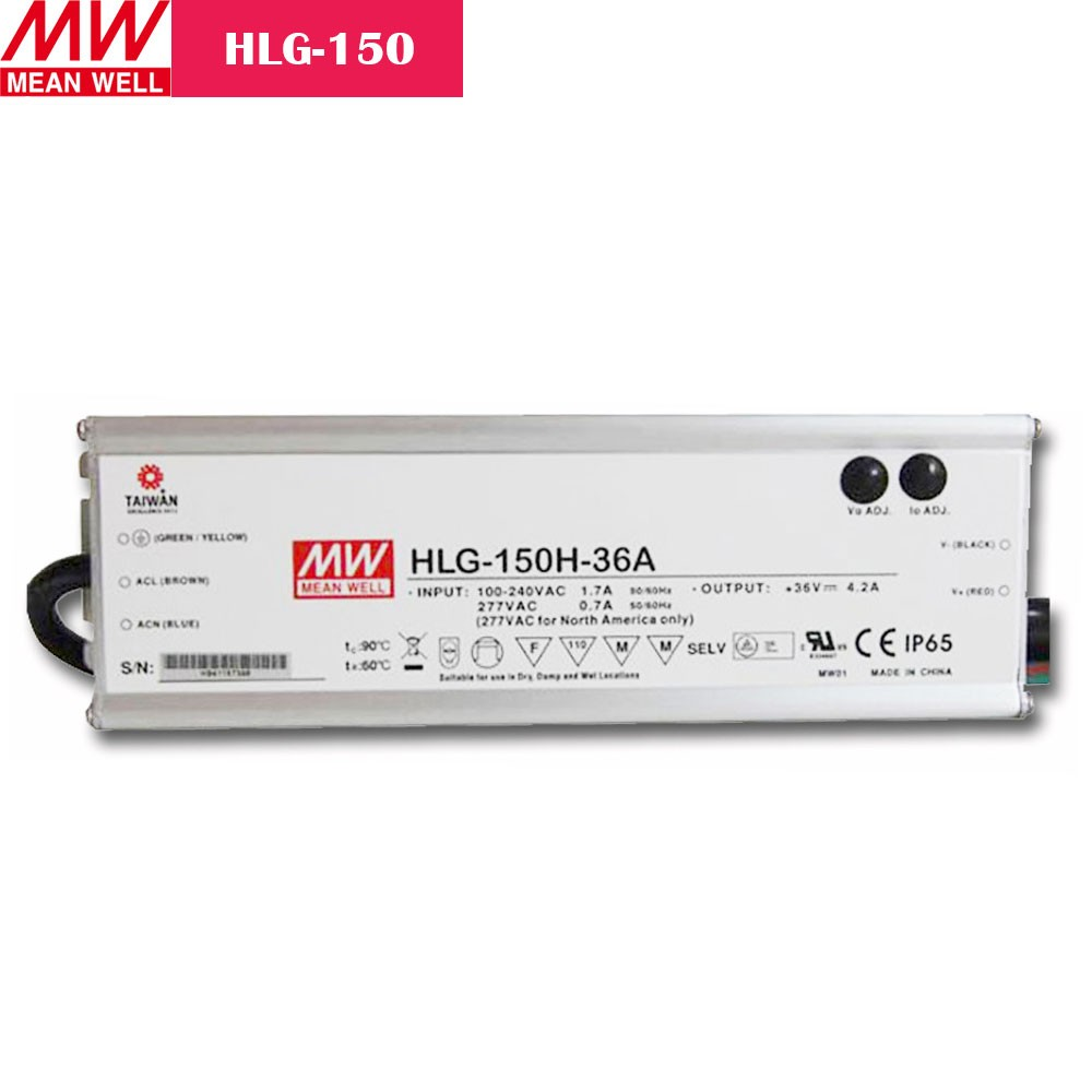 150W MEANWELL UL Certificated HLG series IP65 / IP67 Waterproof Power Supply