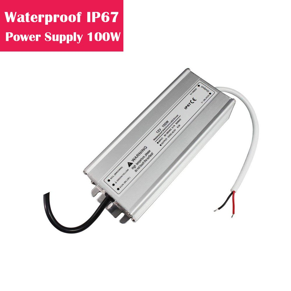 12V 8.3Amp 100W Outdoor IP67 Waterproof LED Power Supply in Aluminum Shell