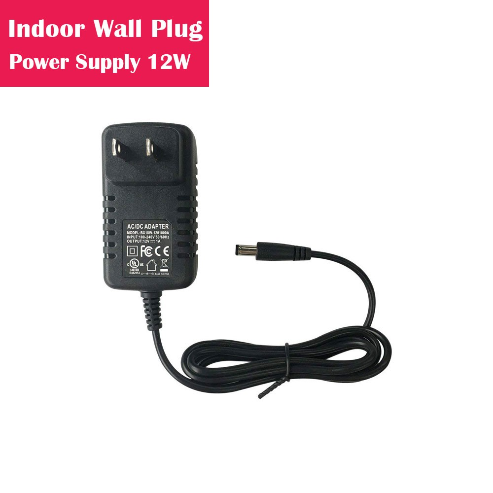 12V 1Amp 12W Indoor AC-DC Wall Plug in Switching LED Power Supply with DC 5.5/2.1 Male Barrel Connector