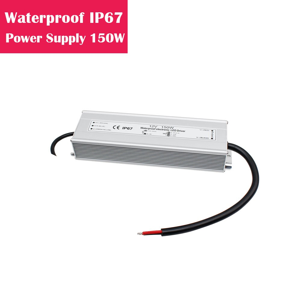 12V 12.5Amp 150W Outdoor IP67 Waterproof LED Power Supply in Aluminum Shell