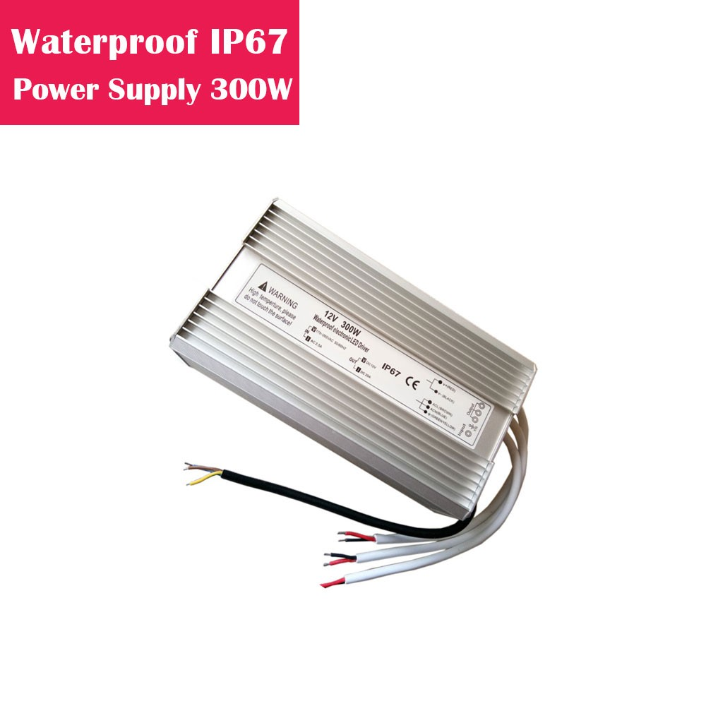12V 25Amp 300W Outdoor IP67 Waterproof LED Power Supply in Aluminum Shell