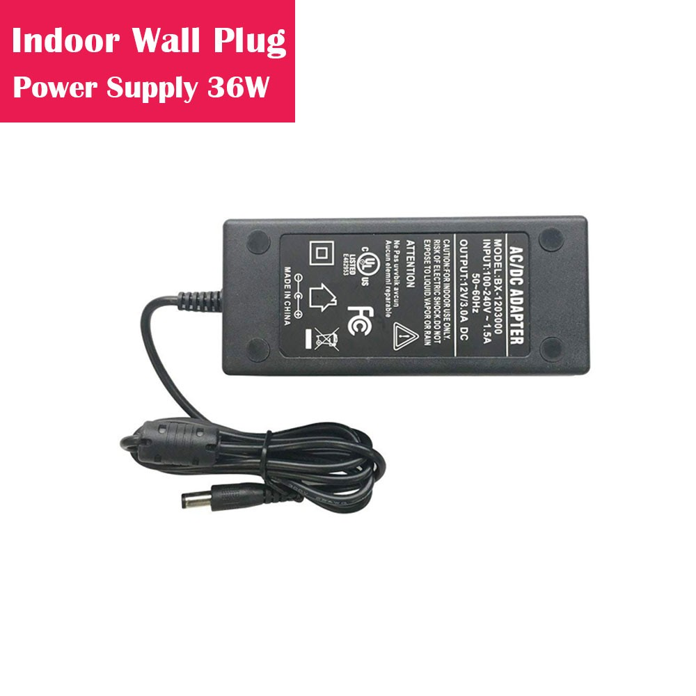 12V 3Amp 36W Indoor AC-DC Desk Top Wall Outlet Plug in Switching LED Power Supply with DC 5.5/2.1 Male Barrel Connector