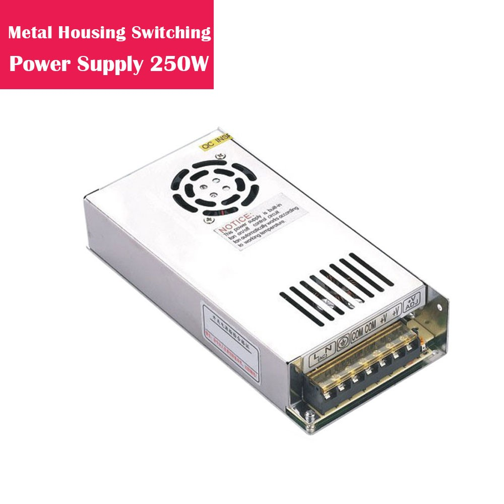 12V 20.83Amp 250W Metal Housing Switching Indoor LED Power Supply in Aluminum Shell