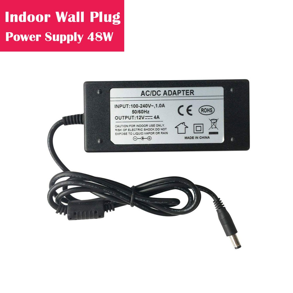 12V 4Amp 48W Indoor AC-DC Desk Top Wall Outlet Plug in Switching LED Power Supply with DC 5.5/2.1 Male Barrel Connector