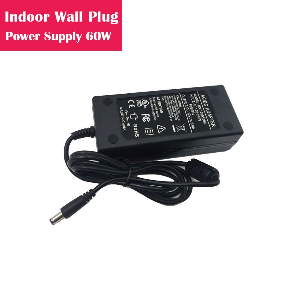 12V 5Amp 60W Indoor AC-DC Desk Top Wall Outlet Plug in Switching LED Power Supply with DC 5.5/2.1 Male Barrel Connector