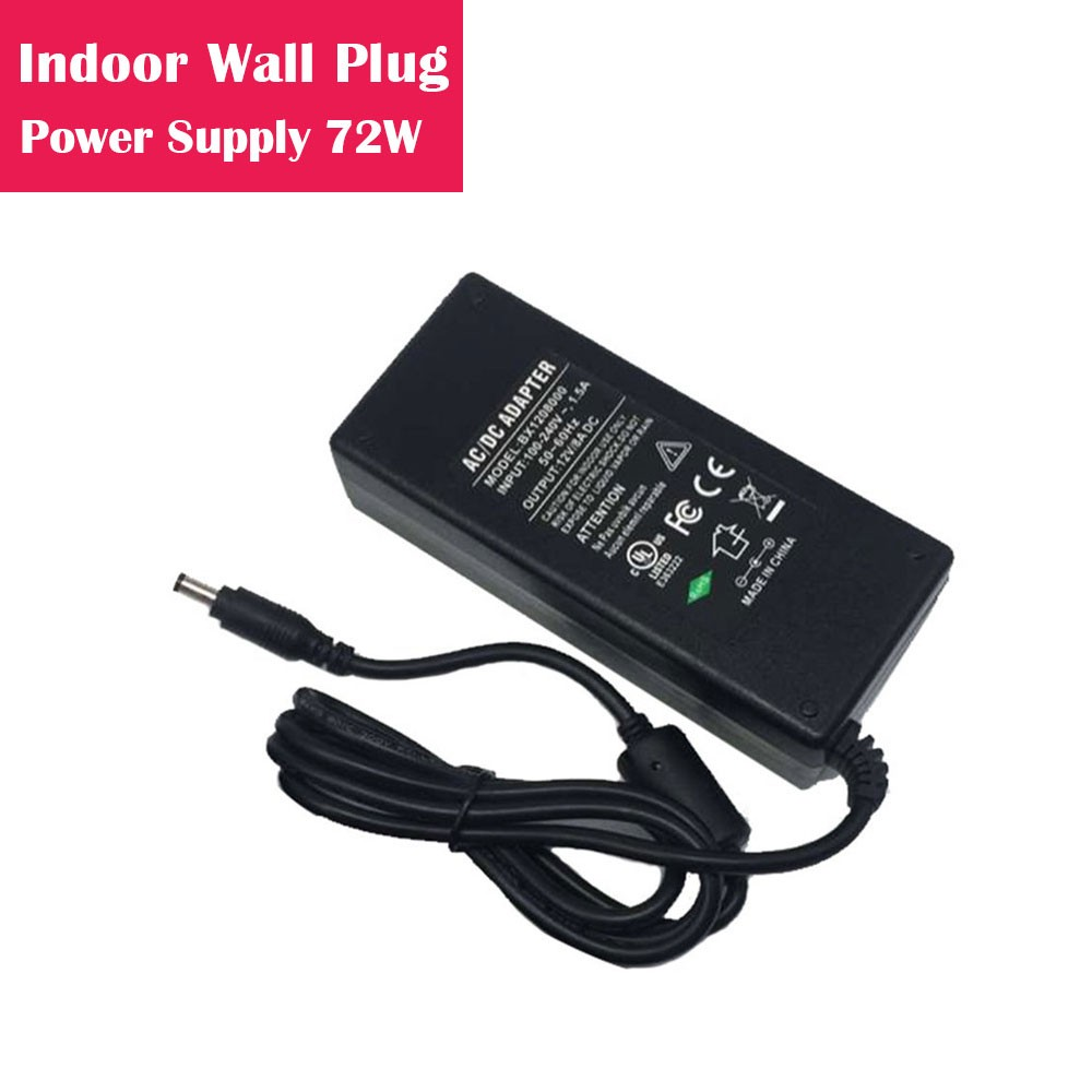 12V 6Amp 72W Indoor AC-DC Desk Top Wall Outlet Plug in Switching LED Power Supply with DC 5.5/2.1 Male Barrel Connector