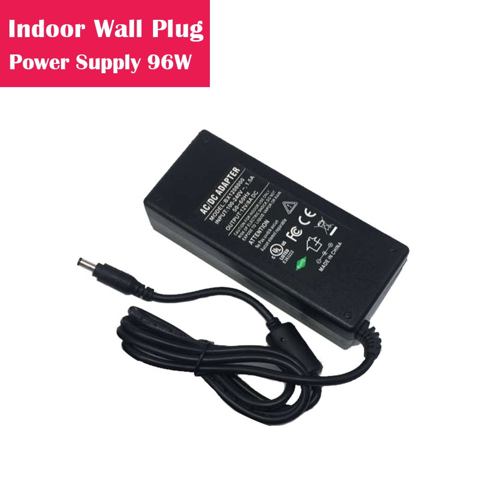 12V 8Amp 96W Indoor AC-DC Desk Top Wall Outlet Plug in Switching LED Power Supply with DC 5.5/2.1 Male Barrel Connector