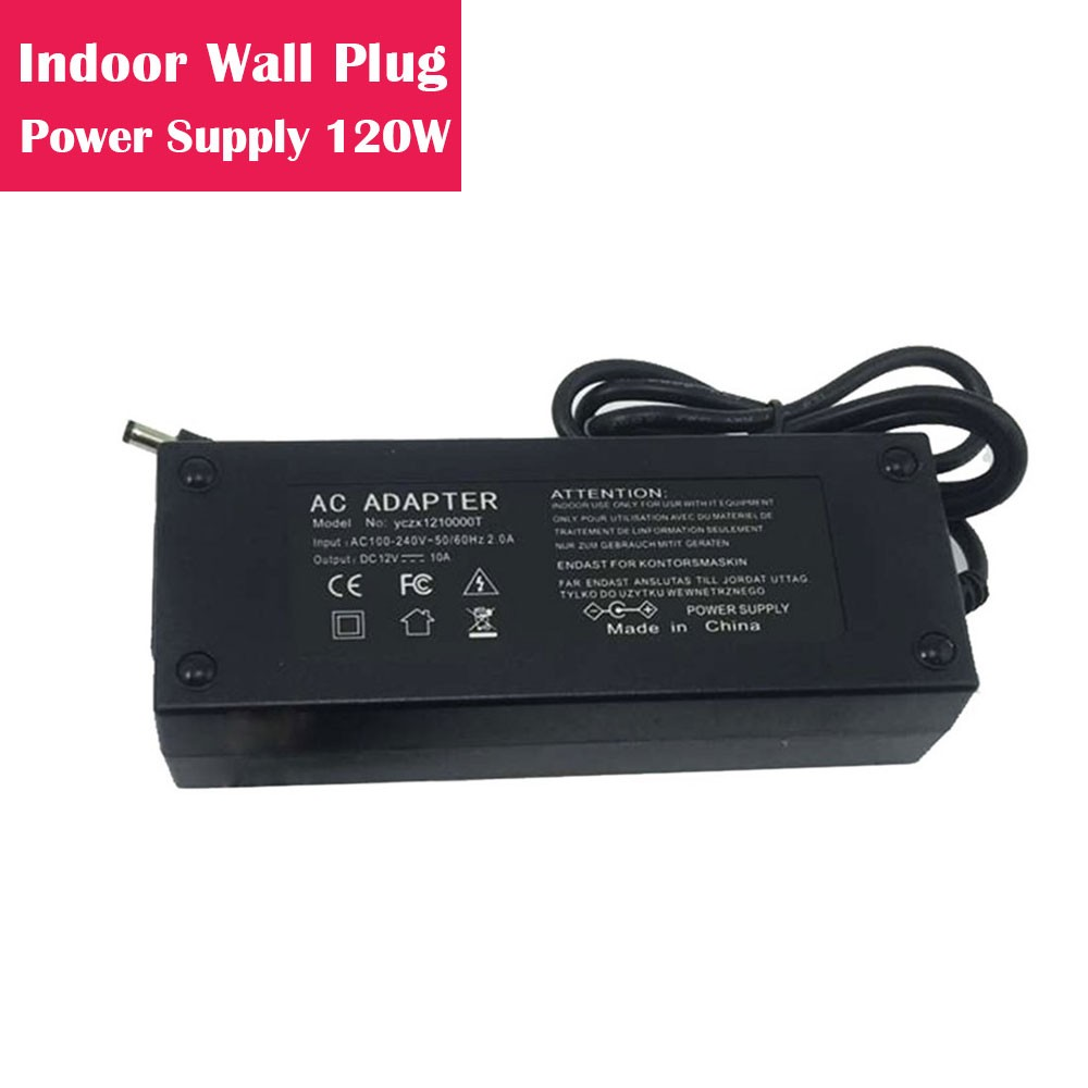 12V 10Amp 120W Indoor AC-DC Desk Top Wall Outlet Plug in Switching LED Power Supply with DC 5.5/2.1 Male Barrel Connector