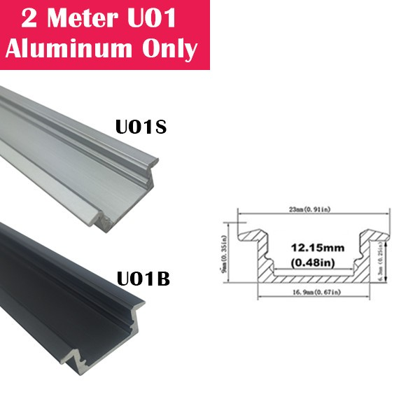 2Meter (6.6ft) U01 LED Aluminum Channel Only