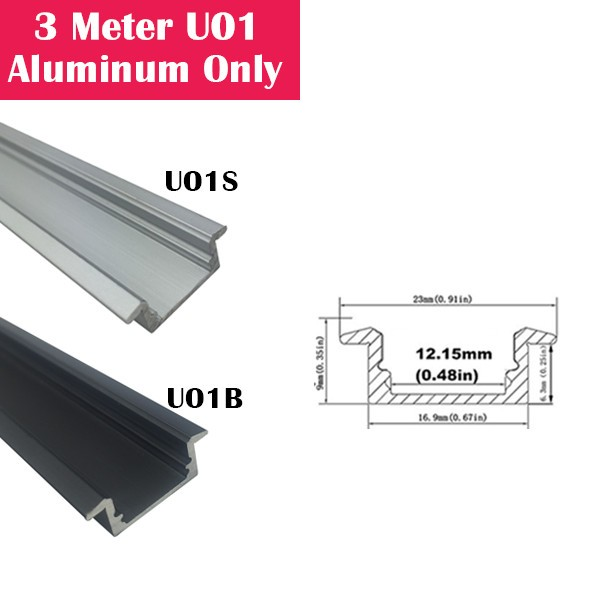 3Meter (9.9ft) U01 LED Aluminum Channel Only