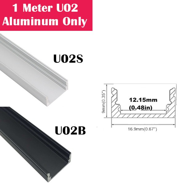 1Meter (3.3ft) U02  LED Aluminum Channel Only