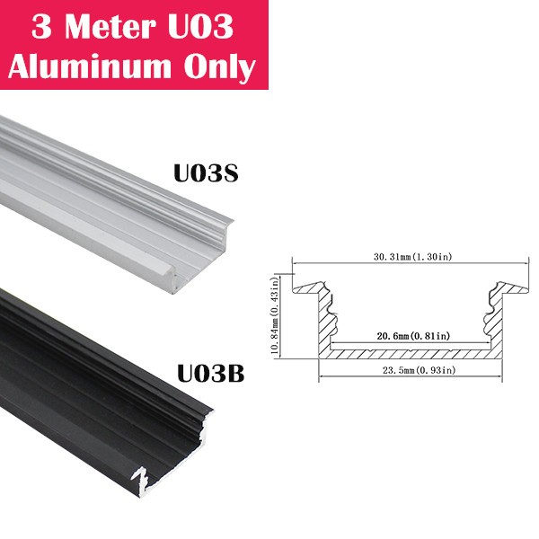 3Meter (9.9ft) U03  LED Aluminum Channel Only