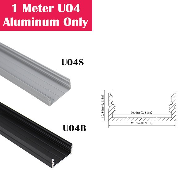 1Meter (3.3ft) U04 LED Aluminum Channel Only