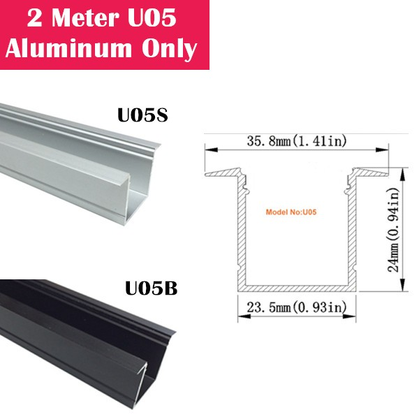 2Meter (6.6ft) U05 LED Aluminum Channel Only