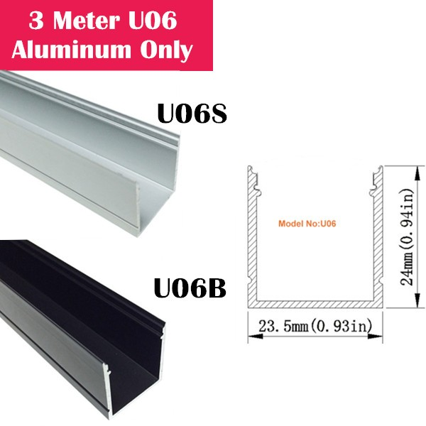 3Meter (9.9ft) U06 LED Aluminum Channel Only