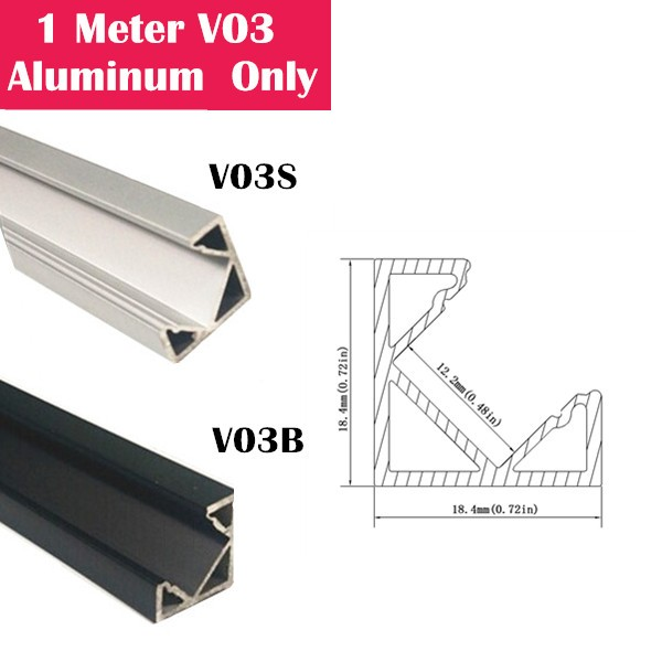 1Meter (3.3ft) V03 LED Aluminum Channel Only