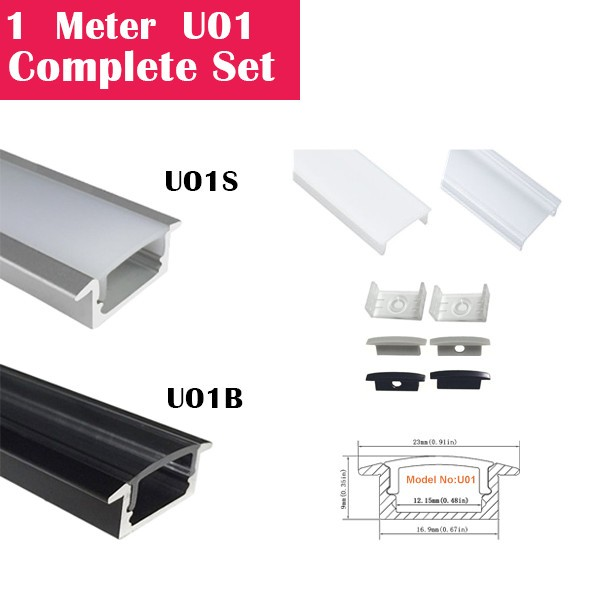 1Meter (3.3ft) U01 Complete Set Aluminum Channel