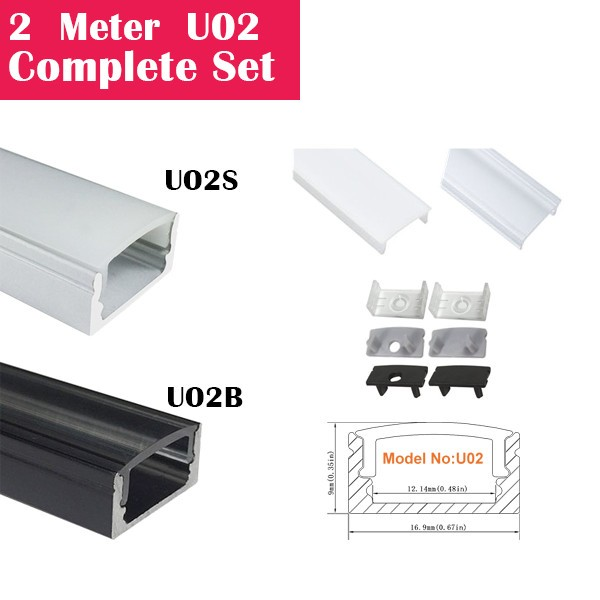 2Meter (6.6ft) U02 Complete Set Aluminum Channel