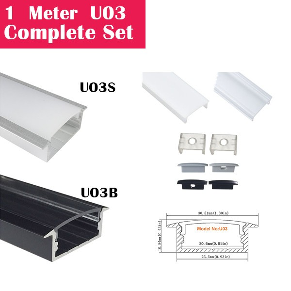 1Meter (3.3ft) U03 Complete Set Aluminum Channel