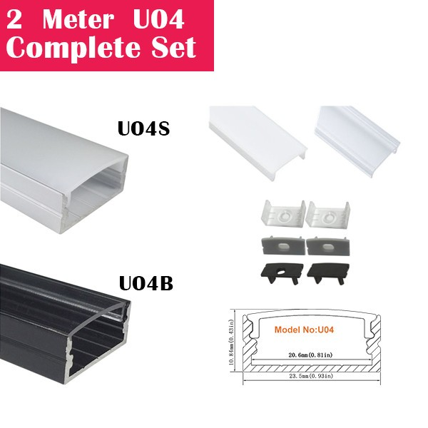 2Meter (6.6ft) U04 Complete Set Aluminum Channel