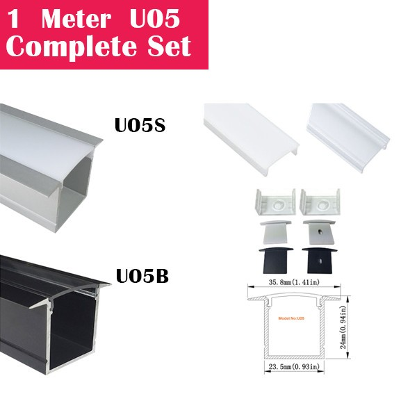 1Meter (3.3ft) U05 Complete Set Aluminum Channel