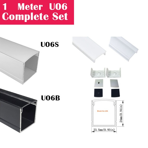 1Meter (3.3ft) U06 Complete Set Aluminum Channel