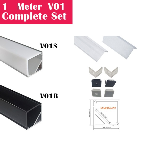 1Meter (3.3ft) V01 Complete Set Aluminum Channel