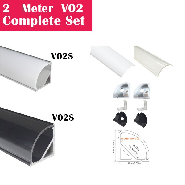 2Meter (6.6ft) V02 Complete Set Aluminum Channel