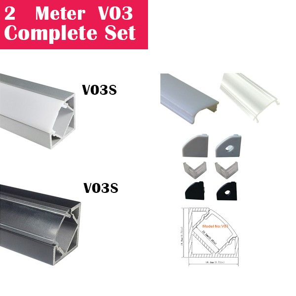 2Meter (6.6ft) V03 Complete Set Aluminum Channel