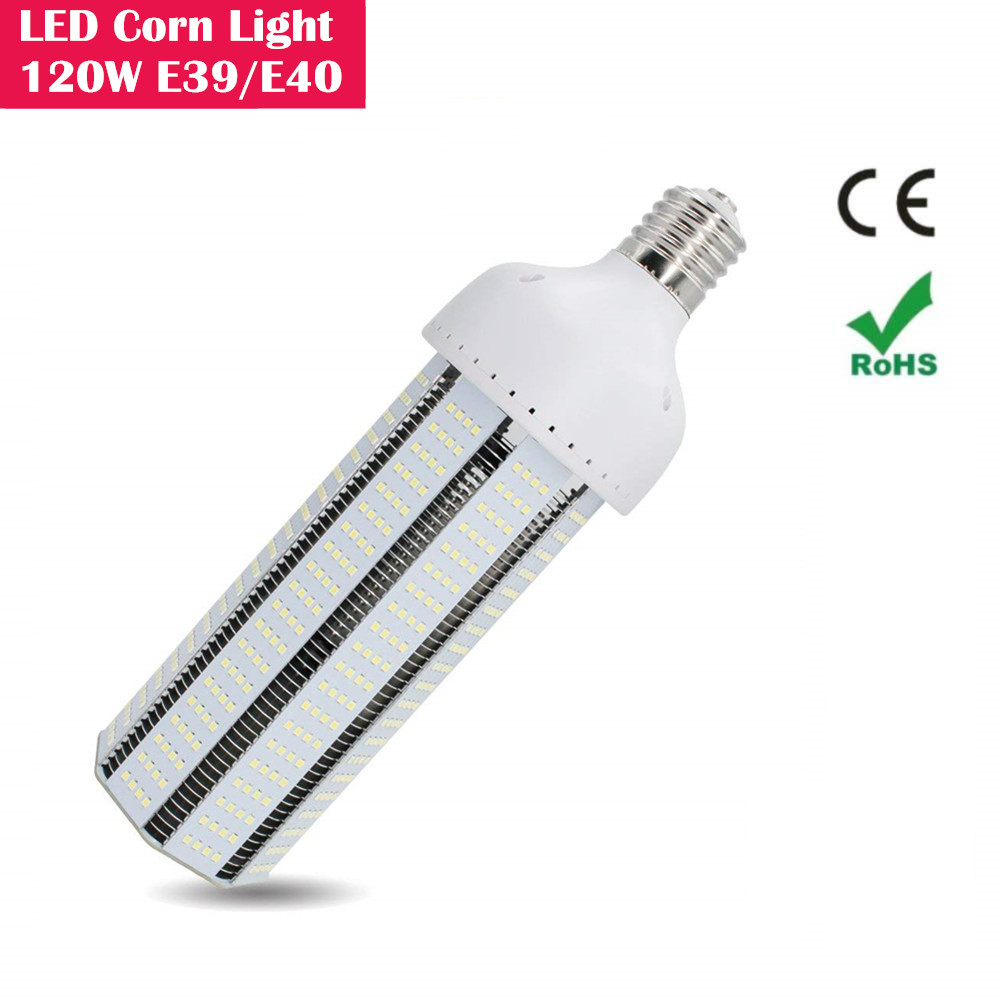 120W LED Corn Light Bulb, Large Mogul E39/E40 Base, 12500LM for Indoor Large Area Light, for Street Lamp Post Lighting Garage Factory Warehouse Garden Super Bright