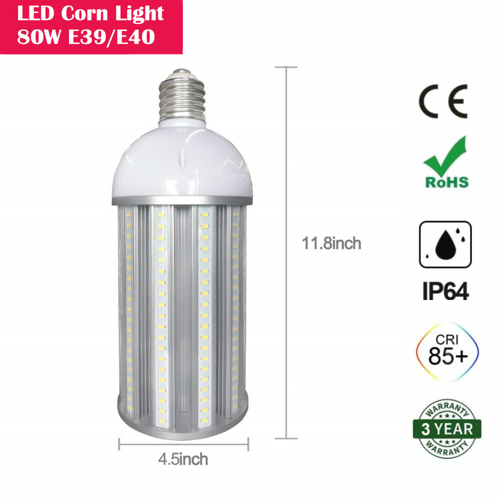 80W LED Corn Light Bulb, E39/E40 Large Mogul Base,  8500 Lumens, 800 Watt Equivalent Metal Halide Replacement for Indoor Outdoor Large Area Lighting, HID, CFL, Hps