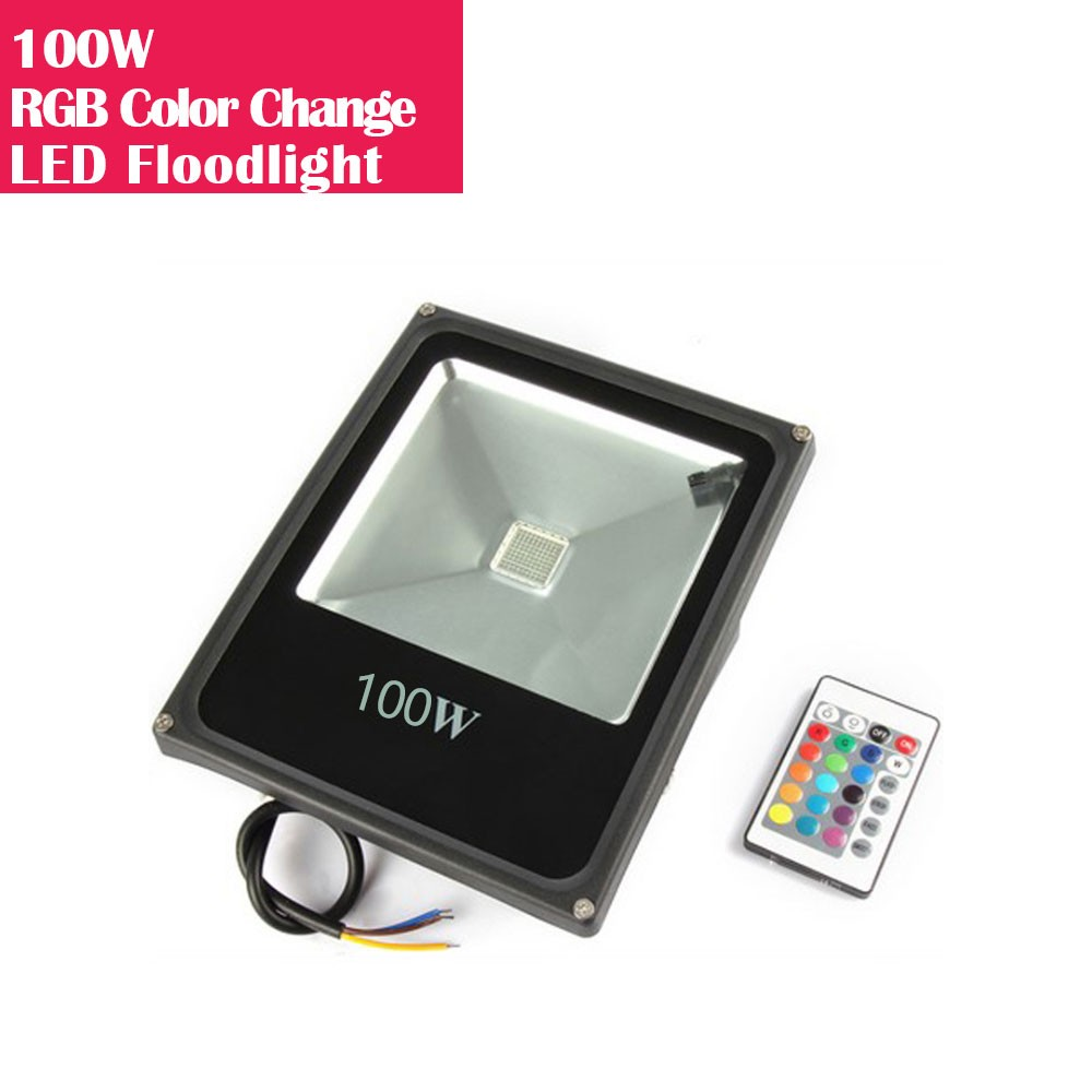 100W RGB Color Changing LED Floodlight with Remote Controller IP65 Waterproof