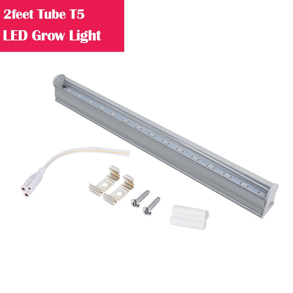2feet LED Tube T5 Grow Light Red/Blue Spectrum (R:B=5:1) Clear Lens for Indoor Plant Veg and Flower Hydroponic Greenhouse Growing Bar Light
