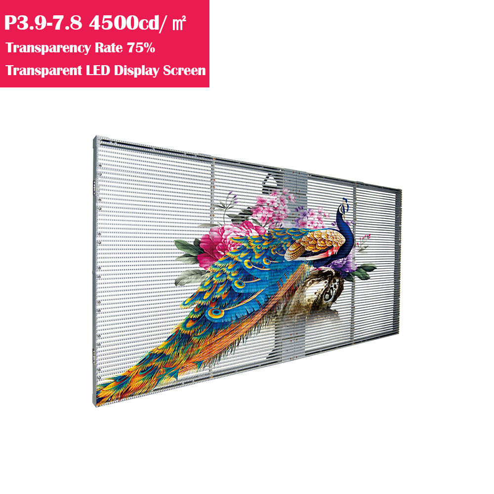 0.5㎡ P3.9-7.8 75% Transparency Rate  4500cm/㎡ Brightness Waterproof Full Color Transparent GOB LED Display Panel