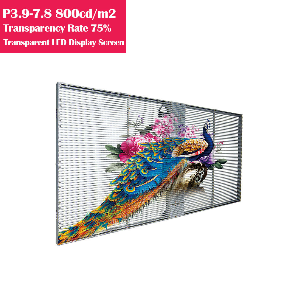 0.5㎡ P3.9-7.8 75% Transparency Rate  800cm/㎡ Brightness Waterproof Full Color Transparent GOB LED Display Panel