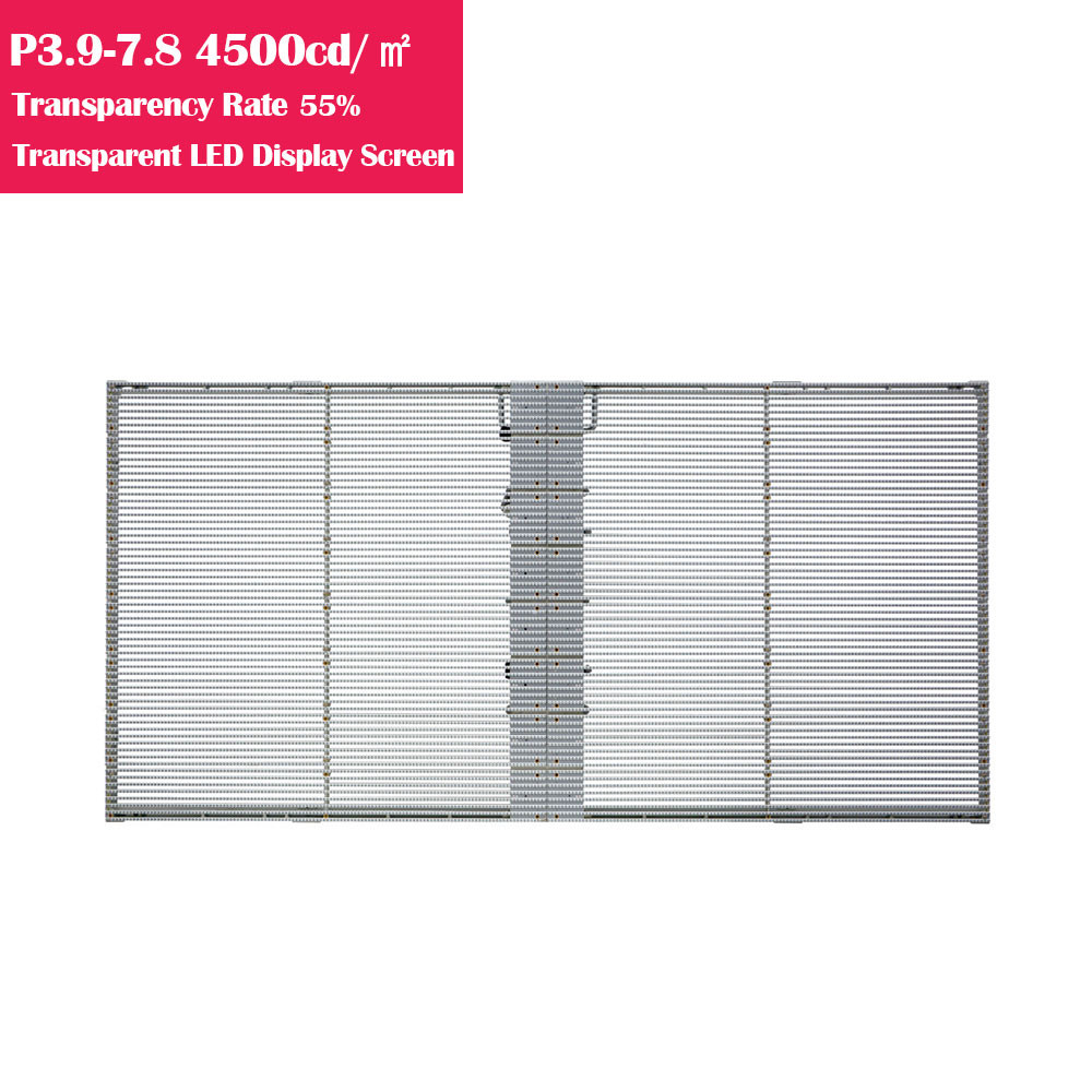 0.5㎡ P3.9-7.8 55% Transparency Rate  4500cm/㎡ Brightness Waterproof Full Color Transparent GOB LED Display Panel