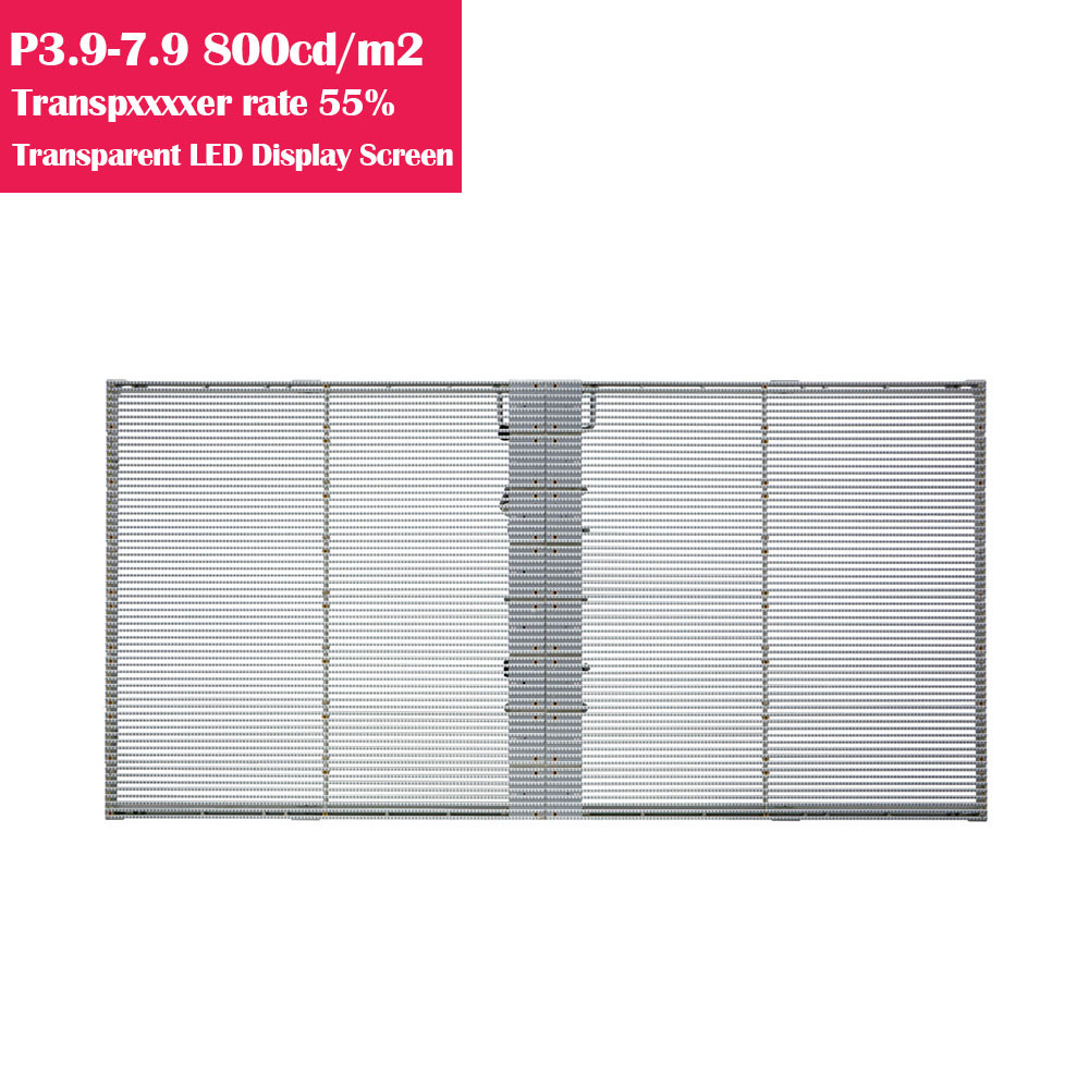 0.5㎡ P3.9-7.8 55% Transparency Rate  800cm/㎡ Brightness Waterproof Full Color Transparent GOB LED Display Panel