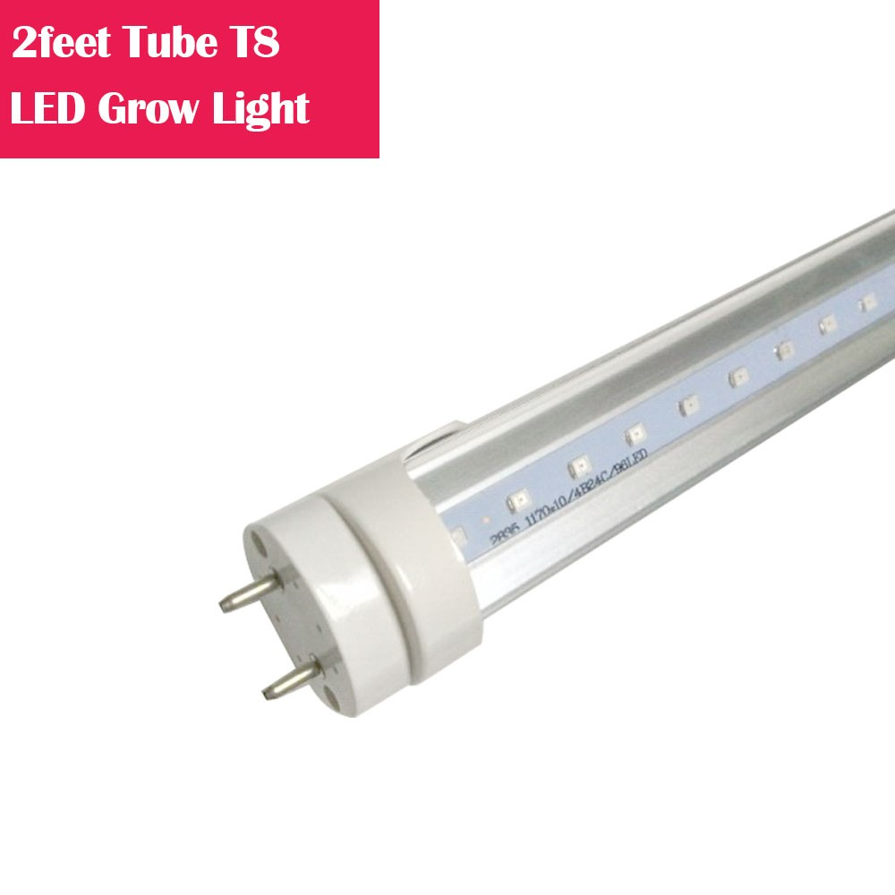 2feet LED Tube T8 Grow Light Red/Blue Spectrum (R:B=5:1) Clear Lens for Indoor Plant Veg and Flower Hydroponic Greenhouse Growing Bar Light