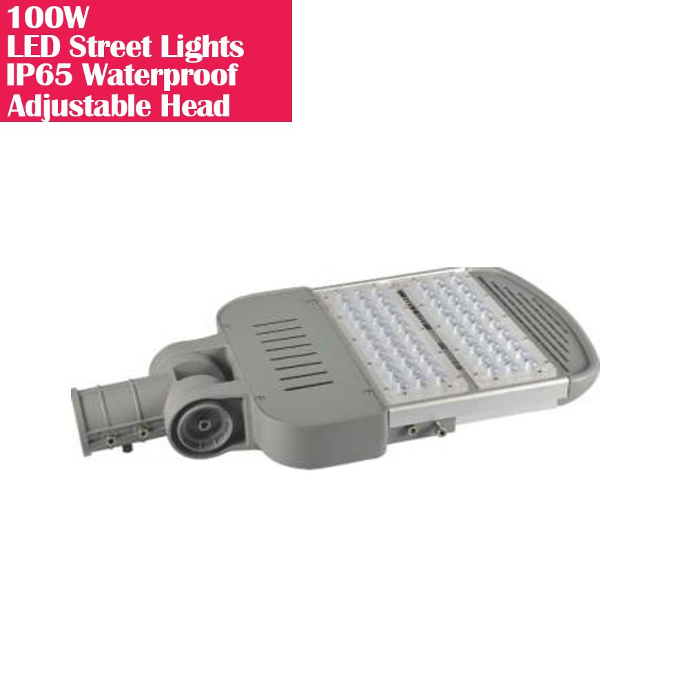 100W IP65 Waterproof Adjustable Head LED Street Lights Modular LED Pole Light Outdoor 120LM/W CRI80+