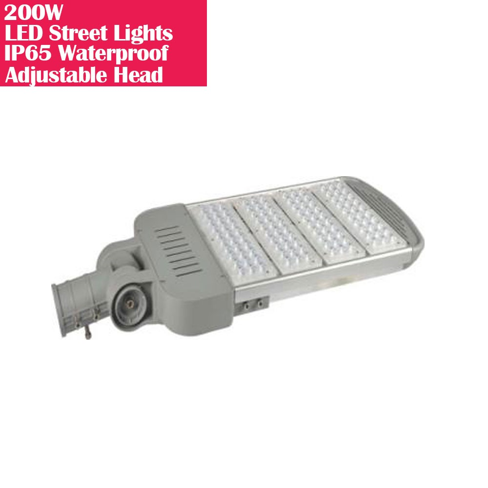 200W IP65 Waterproof Adjustable Head LED Street Lights Modular LED Pole Light Outdoor 120LM/W CRI80+