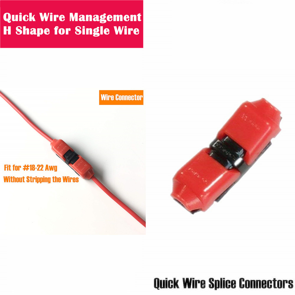 Quick Wire Connector H-Shape Electrical Butt Splice 18-22AWG One Cable Management Single Way Terminals Kit Without Stripping